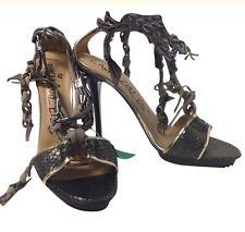 Lanvin Shoe Metalic Pueter Twist Chain Strap Python Size 40 New