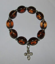 Brown Beads Stretchy Bracelet New Cross Charm Silver Tone Stretch Jewelry