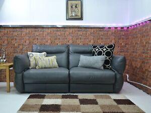 G Plan - Tess Dallas Dark Grey Leather 3 Seater Sofa RRP £2119