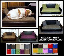"""Large Zippy Bespoke Faux Leather Jumbo Cord Sofa Dog Bed 5"""" MATTRESSS Washabl"""