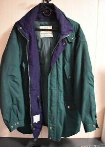 Towne by London Fog Mens Size Large Heavy Coat Green/Blue Made In Sri Lanka