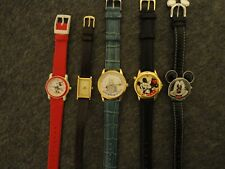 DISNEY MICKEY MOUSE LOT 5 WATCHES VERY CLEAN W/NEW BATTS - ALL RUN GREAT