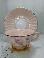 Vintage Tuscan Fine Bone China Tea Cup & Saucer Pink floral design Made England.