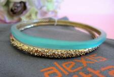 Alexis Bittar Aqua Lucite & Gold Encrusted Crystal Paired Bangle Bracelet NWT