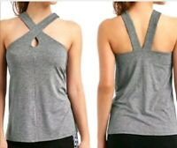 Gap Fit Womens Key Hole Breathe Tank Top Size S Green Gray Athetic Sport Stretch
