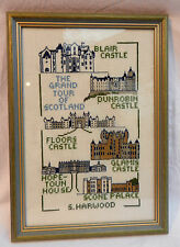 SCOTLAND Hand Worked Needlework Sampler / Picture in Glazed Frame - c 1992