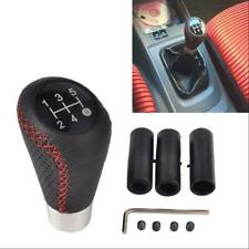 5 Speed Black&Red Line Leather Aluminum Manual Car Gear Shift Knob Shifter Lever