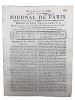 Saint Aubin 1790 Sélestat Noyon Brevet de Beaujour Marine révolution française