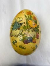 """Vintage 8"""" Paper Mache Bunny Easter Egg Candy Container"""