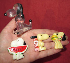 """Snoopy Lot of 4 Vintage Clear Acrylic Figurine & 3 Magnets=""""Love""""B urger & Melon"""