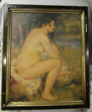 Vintage Unknown Artist print - Nude woman bathing by river - black & gilt frame