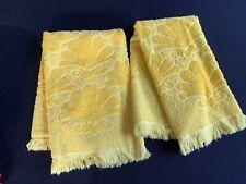 Pair Of Vintage Fieldcrest Sunny Yellow Shells Design Bathroom Hand Towels