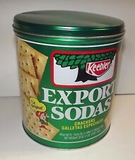 "KEEBLER EXPORT SODAS CRACKER TIN_1983 SPANISH _VINTAGE KEEBLER SODA TIN 8"" X 7"""