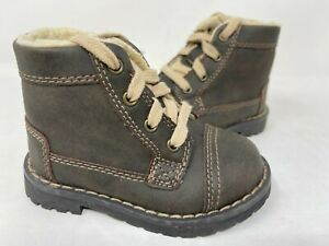 Cherokee Toddler Boy's Faux Fur Lined Lace Up Ankle Boots Brown #17730 146Q mz