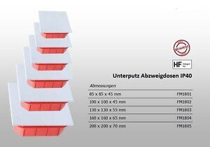 Abzweigkasten Klemmkasten mit Deckel Abzweigdose Unterputz IP40-PS, halogenfrei