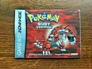 Pokemon Ruby Version Nintendo Gameboy Advance Instruction Manual Only