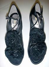 Maxstudio Women's Silvia T-Strap Sandal, Black Satin/ Chiffon Flowers, 7 M US