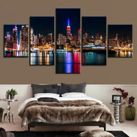 New York City Skyline Night 5 panel canvas Wall Art Home Decor Poster Picture