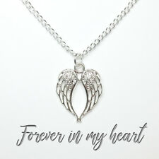 925 Silver plated angel wing necklace bereavement loss memory gift