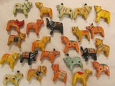 24 VTG BEADS ANIMAL 3-D INDIA WOOD HAND PAINTED JEWELRY FINDINGS LOT CRAFTS NOS