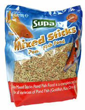10x Supa Mixed Sticks Pond 6 Litres Coldwater Koi Goldfish Complete Fish Food