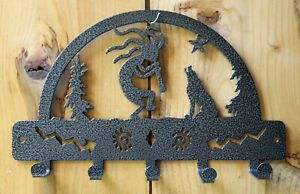 KOKOPELLI Key Holder5 Hooks Wall Hanger Fob Rack Wolf Flute Plasma Metal Art