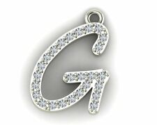 "14k WHITE GOLD INITIAL ""G"" PENDANT WITH 18"" LENGTH CABLE CHAIN"