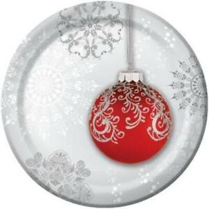 Jingle Bells Round 7 Inch Paper Plates 8 Pack Christmas Winter Decoration