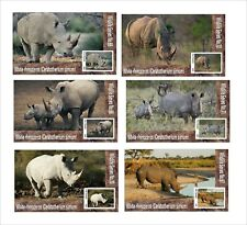 2019  WHITE RHINOCEROS 6 SOUVENIR SHEETS MNH UNPERFORATED WILDLIFE AFRICA