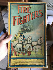 Antique Fire Fighters Board Game Milton Bradley 1909 Box And Board  Rare