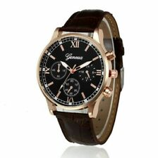 Mens Black Face Brown Leather Luxury Dress Fashion Rose Gold Quartz Watch