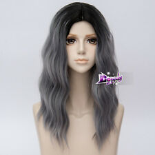 50CM Black Mixed Gray Medium Curly Hair Ombre Harajuku Lolita Party Cosplay Wig