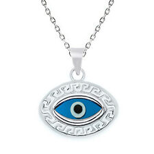 Evil Eye Pendant Greek Turkish Nazar Hamsa 925 Sterling Silver Chain Necklace
