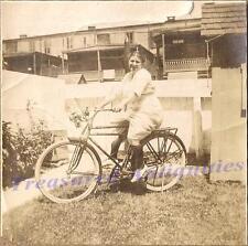 1920s Woman Riding Bicycle Carbide Lantern Headlight/Light Ahooga Horn Photo
