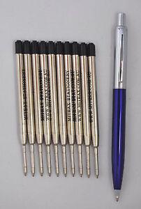 10 black refills 0.8mm point compatible with Parker pen + blue barrel click pen