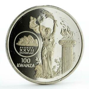 Angola 100 kwanzas Sydney Olympic Games series Fire and Flame silver coin 1999