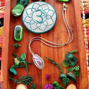Amethyst Crystal Pendant Gemstone Necklace Hemp Cord Handknotted GypsyLee Jewels