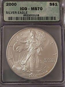 2000 ICG MS70 Certified American Silver Eagle Dollar S$1 - RARE TOP SHELF
