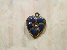 Vintage Sterling silver enameled puffy heart charm-Blue Jay pansy