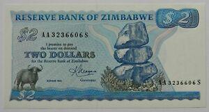 """SIMBABWE: 2 Dollars seit 1980 """"FELSENFORMATION"""", kassenfrisch/unc."""