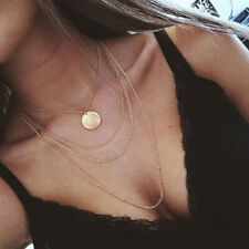 Coin Layer Necklace Thin Chain Jewellery Gold Choker Bohemian Boho Simple UK