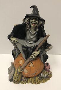 Vintage 1972 Byron Ceramic Mold Witch and Black Cat On Pumpkin Jack-o-lantern