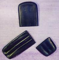Vintage Budd Leather Company 3 Piece Black Thin Cigar Case Holder 3 Flutes Spain