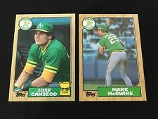 MARK MCGWIRE ROOKIE & JOSE CANSECO RC TOPPS 1987 BASH BROTHERS BASEBALL CARDS