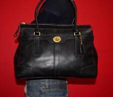 """COACH """"Hamptons"""" Larger Black Leather Shoulder Shopper Tote Purse Bag 11048"""