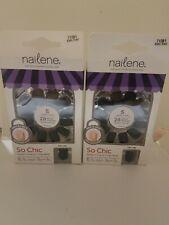 Nailene So Chic Nails, Matte Black, 28 Nails
