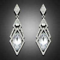 Silver Crystal Drop Earrings Deco 1920s Long  Party Bride sparkle GATSBY SASSIE