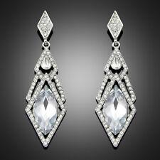 Silver Crystal Drop Earrings Art Deco 1920s Long Drop Party