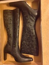Mia Women's Deacon Leather Tall Boots Black Knee-High Cut Outs Sz 7 - FUNDRAISER