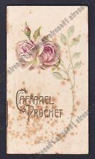 CALENDARIETTO CAFFAREL PROCHET 1907 ROSE - CIOCCOLATO - in RILIEVO old calendar
